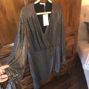 Zara NWT faux wrap metallic shine dress XL